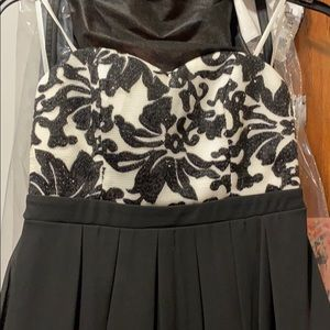 Black and white mini homecoming dress